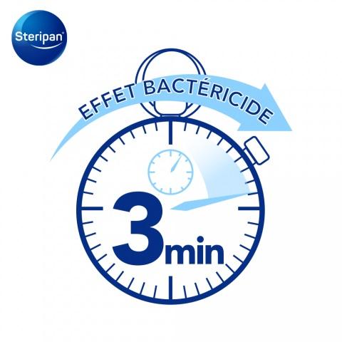 Effet bactéricide 3 minutes