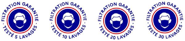 Logos masques tissus filtration garantie